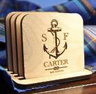 Personalized Nautical Anchor Coaster Set
