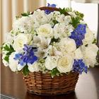 Peace, Prayers & Blessings Basket Bouquet in Blue and White