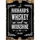 Whiskey and Moonshine Personalized Bar Sign