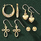 Gold Over Sterling Silver Earring Set