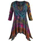 Jennifer Tie-Dye Tunic Top with Scoop Neck and 3/4 Sleeves
