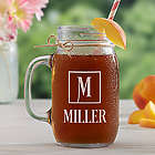 Square Monogram Personalized Glass Mason Jar