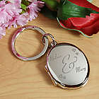 Engraved Couples Silver Oval Locket Keychain