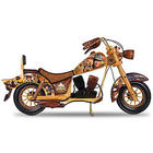 John Wayne Wooden Motorcycle Sculpture with Portrait Art