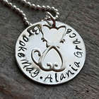 Cat Lady Hand Stamped Personalized Silver Disc Necklace