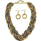 Gold-Tone Woven Bib Statement Necklace and Earrings