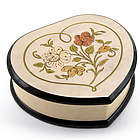 Ivory Stain Heart-Shaped Music Box with Floral Center