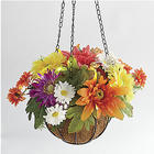 Bright Colors Floral Hanging Lit Basket