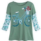 Women's Bicycle Faux-Layered Organic Cotton T-shirt
