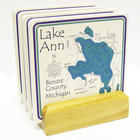 4 Personalized Lake Art Coasters with Light Wood Stand