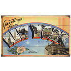 Vintage State Postcard Plaque