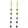 18K Gold Black Diamond Double Side Briolette Earrings