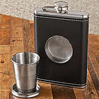 Personalized Leather Flask with Folding Shot Glass