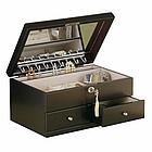 Darcy Contemporary Java Finish Locking Jewely Box