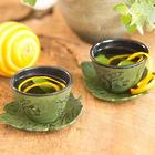 2 Bamboo Grove Cast Iron Cups and Saucers