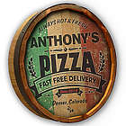 Personalized Pizza Fast Free Delivery Quarter Barrel Sign