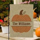 Personalized Family Name Pumpkin Burlap Garden Flag