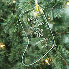 Baby's 1st Christmas Personalized Glass Stocking Ornament