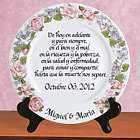 Personalized Platinum Rim Wedding Plate in Spanish
