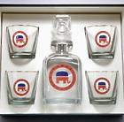 Republican Elephant Decanter and Rocks Glasses