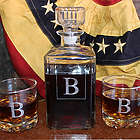 Timeless Personalized Initial Liquor Decanter and Lowball Glasses