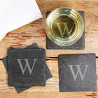 4 Personalized Naturally Edged Slate Coasters