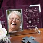 Memorial Word-Art Beveled Glass Picture Frame