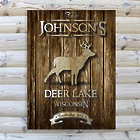 Personalized Rustic Wood Canvas Print with Deer Design