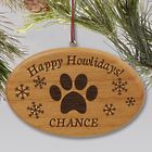 Personalized Meowy Christmas Or Happy Howlidays Wood Ornament
