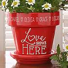 Love Grows Here Personalized Red Flower Pot