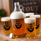 Personalized Printed Hollywoodian Beard Growler and Glasses