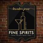 Personalized Fine Spirits Wood Bar Sign