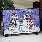 Personalized Snowman Family Stone