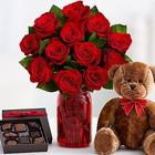 One Dozen Red Roses With Red Mason Jar, Bear and Chocolates