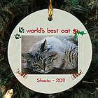 Personalized Ceramic Cat Photo Ornament