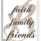 Faith, Family, Friends Personalized Single Initial Canvas Print