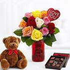 Ultimate One Dozen Rainbow Roses, Chocolates and Teddy Bear
