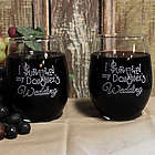 """""""I Survived My Daughter's Wedding"""" Stemless Wine Glass Set"""