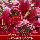 Valentine's Day Grower's Choice Bouquet with Cherry Vase