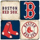 Boston Red Sox Italian Marble Coasters with Wrought Iron Holder