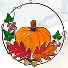 Stained Glass Pumpkin Ring Suncatcher