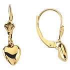14k Gold Teen's Lever Back Heart Earrings
