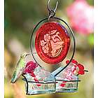 Red Medallion Glass Hummingbird Feeder