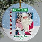 Personalized Ceramic Visit with Santa Ornament