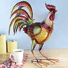 Colorful Standing Rooster Metal Statue