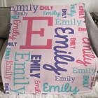 Girl's Personalized Word-Art Throw Blanket