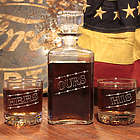 """""""His, Hers & Ours"""" Liquor Decanter & Lowball Glasses Set"""
