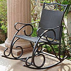 Antique Valencia Steel-Frame Black Resin Wicker Rocking Chair