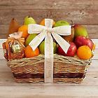 Simply Fresh and Dried Fruit Gift Basket with Personalized Ribbon