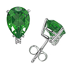 Pear Emerald and Diamond Stud Earrings in 14K White Gold
